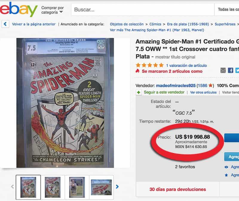 Precio primer comic Spider Man