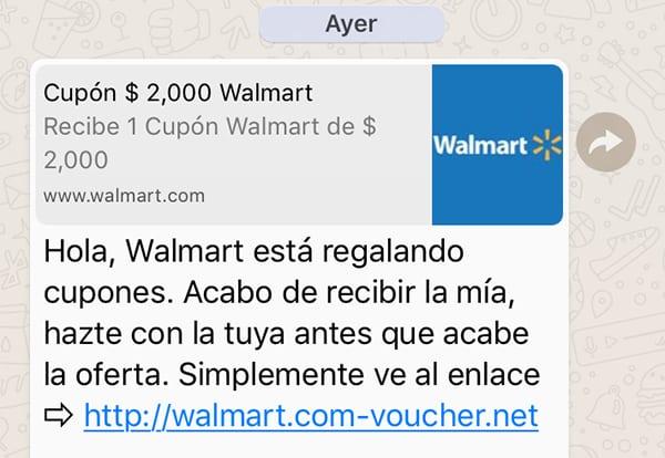 Walmart mensajes falsos en WhatsApp