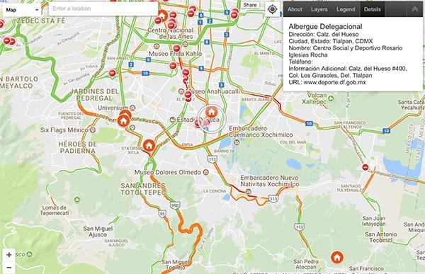 Google Mapa de Crisis terremoto México