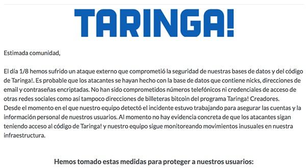 Hackearon a Taringa