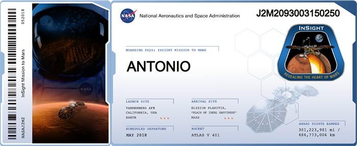 tu nombre a Marte en la misión InSight