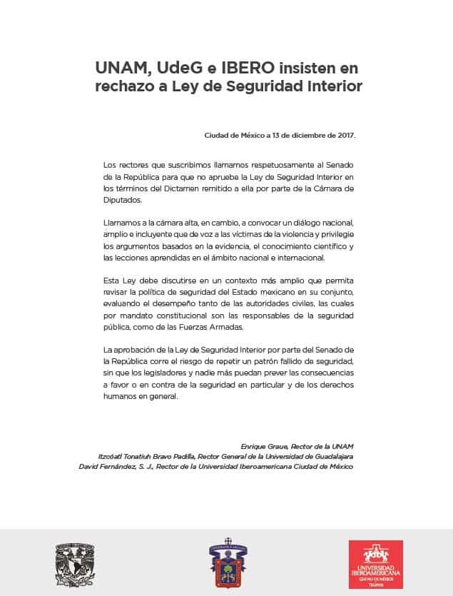 posturas sobre la aprobación de la Ley de Seguridad Interior