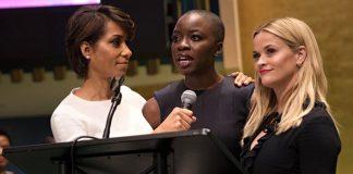 Actrices y activistas en la ONU en el Día Internacional de la Mujer