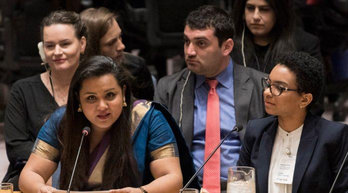 Wickramanayake, Jóvenes ONU Construir un ambiente de paz