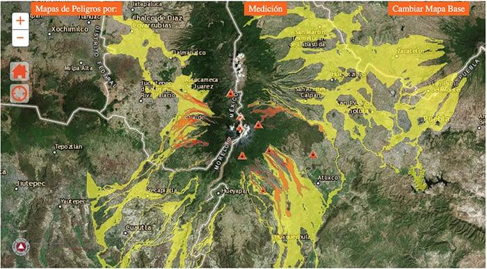 Mapa de peligros del volcán Popocatépetl