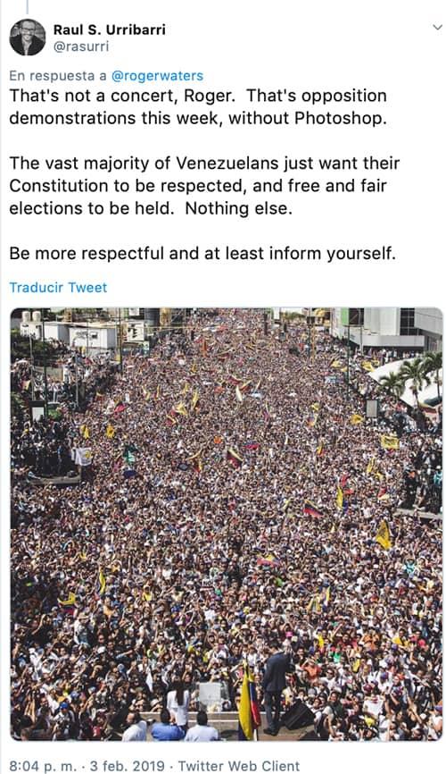apoyo de Roger Waters al gobierno Nicolás Maduro