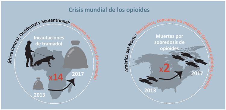 Aumenta el consumo de opioides y la fabricación de cocaína