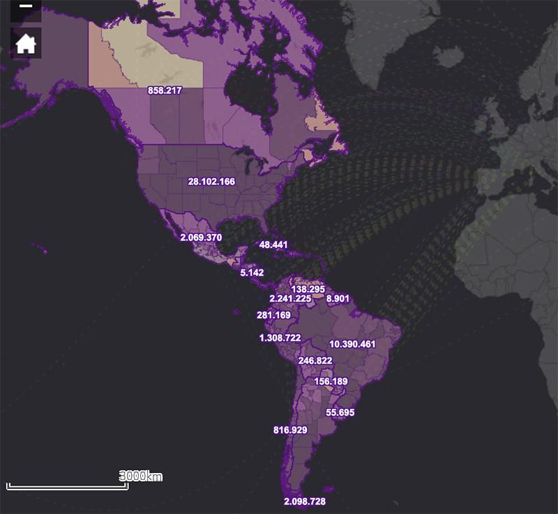 Distribución geográfica de COVID-19 en Latinoamérica